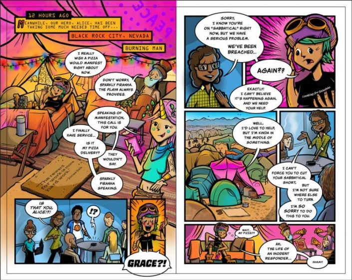 """Splunk - A spread from the graphic novel """"Through the Looking Glass Window"""""""